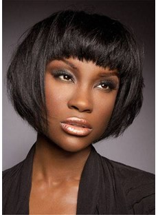 Short Bob Cut Synthetic Straight Hair With Bangs For Black Beauty