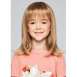 Kids Wig Natural Straight Human Hair With Bangs Child Wig 16 Inches