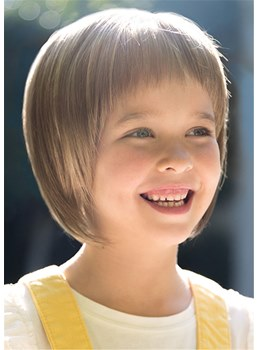 Kids Short Bob Hair Cut Straight Human Hair With Bangs Child Wig 10 Inches