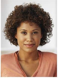 Synthetic Hair Kinky Curly Short Bob Cut Capless Women Wig 14 Inches