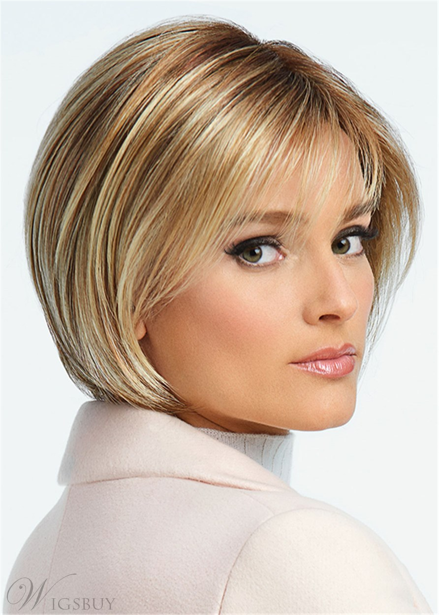Short Bob Hair Cut Synthetic Hair Lace Front Wig 12 Inches