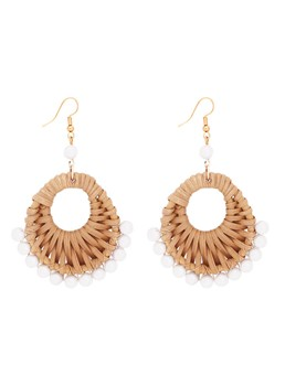 Geometric Round Hollow Rattan Earrings