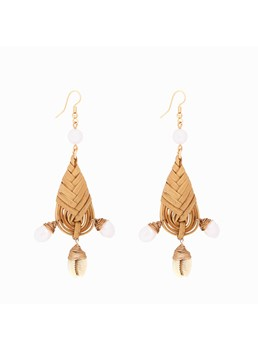 Hand-Woven Geometric Rattan Natural Pearl Earrings