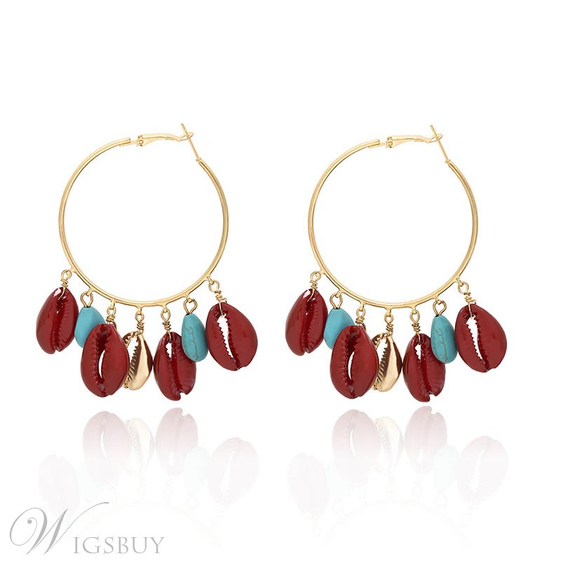 Color Block Pattern Alloy Drop Earrings