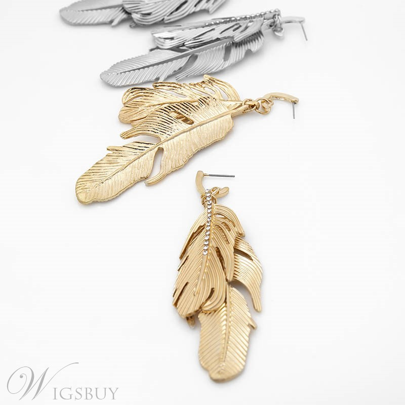 Feather Style Alloy Earrings