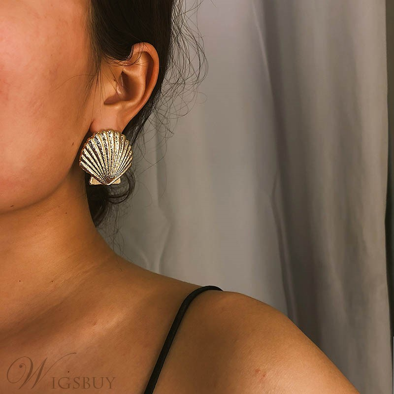 Shell Style Alloy Earrings