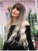 Long Wavy Ombre Synthetic Hair With Bangs Women Wig 26 Inches