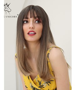 Long Straight Synthetic Hair With Bangs Women Wig 20 Inches