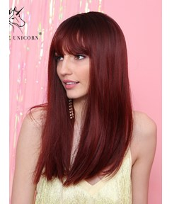 Long Synthetic Hair Straight Wig With Bangs 20 Inches