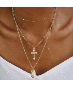 Golden Alloy Cross Necklace