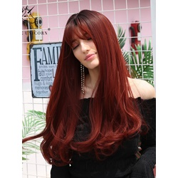 Long Wavy Synthetic Hair With Bangs 130% Density Women Wig 26 Inches