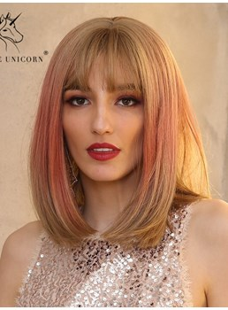 Medium Bob Ombre Straight Hair With Bangs Synthetic Wig 14 Inches