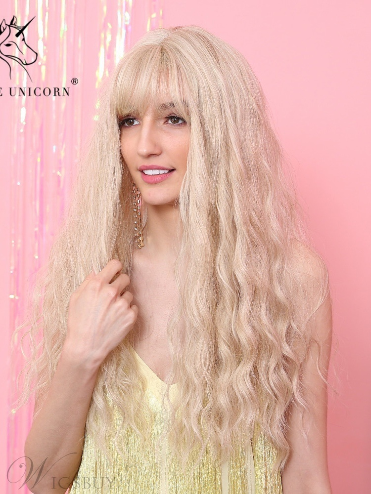 Light Color Long Wavy Synthetic Hair With Bangs Women Wig 26 Inches