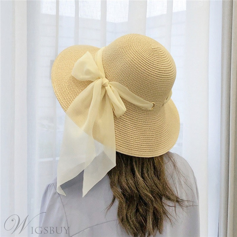 Hat lady Summer Beach Bow Ribbon Sunbonnet