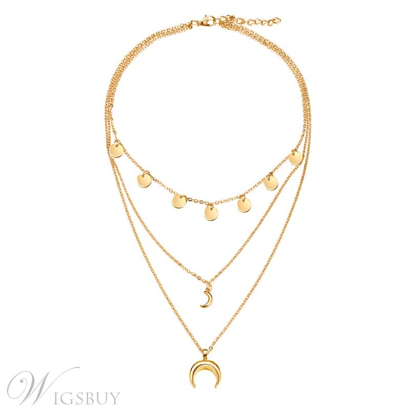 Multilayer Alloy Moon Golden Necklace For Women