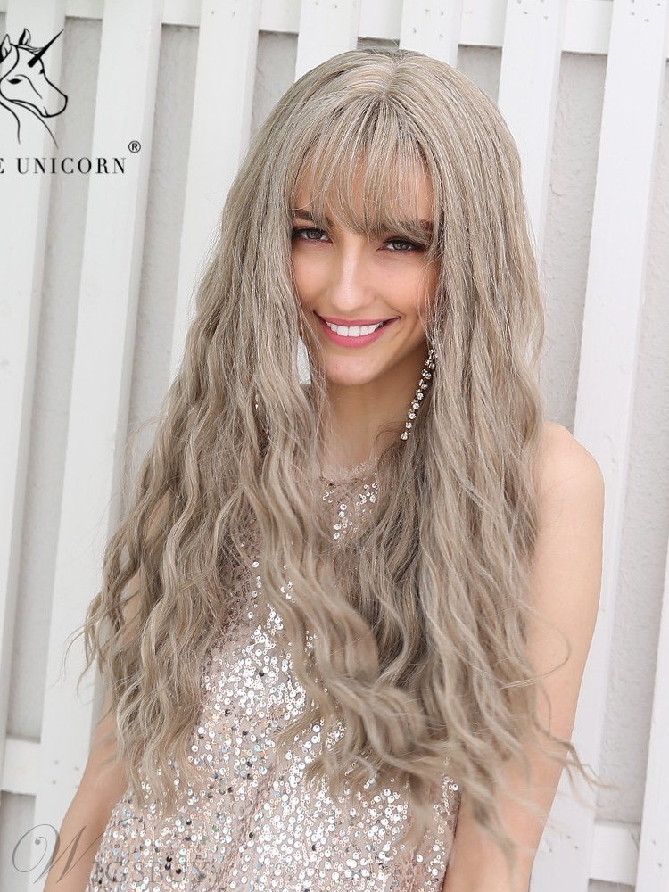Long Wavy Synthetic Hair With Bangs Women Wig 26 Inches