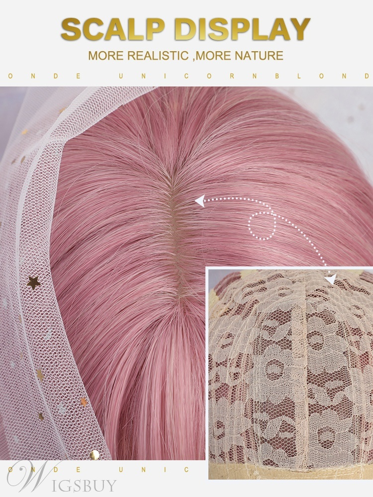 Medium Hairstyle Pink Wavy Synthetic Hair Wig 12 Inches