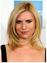 Claire Danes Medium Length Hairstyles Straight Synthetic Hair Wigs Lace Front Wigs 18inch
