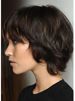 Short Shaggy Women'S Natural Looking Straight Human Hair Wigs Lace Front Wig 12inch