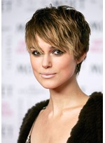 Short Pixie Cut Women's Straight Human Hair Lace Front Wigs With Bangs10inch