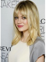 EMMA STONE Lovely Medium Length Hairstyles Women's Straight Synthetic Hair Wigs Capless Wigs 20inch