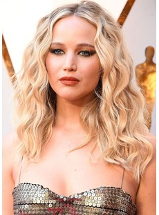 Jennifer Lawrence Hairstyle Women's Lace Front Wigs Wavy Wave Synthetic Hair Wigs 22inch
