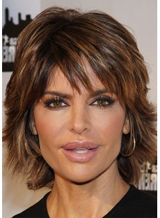 Lisa Rinna Style Women's Short Shaggy Straight Human Hair Wigs Lace Front Wig 16inch