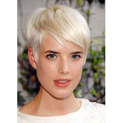 613 Blonde Color Short Pixie Cut Womens Straight Human Hair Lace Front Wigs 10 Inch