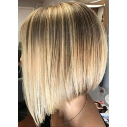 Blonde Color Womens Straight Medium Bob Hairstyles Synthetic Hair Capless Wigs 14inch