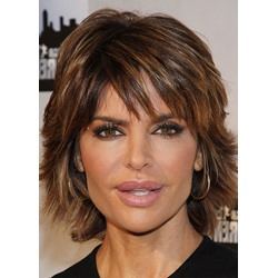 Lisa Rinna Style Womens Short Shaggy Straight Human Hair Wigs Lace Front Wig 16inch
