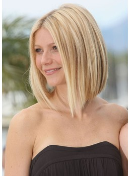 Women's Blonde Straight Medium Bob Hairstyles Synthetic Hair Capless Wigs 16inch