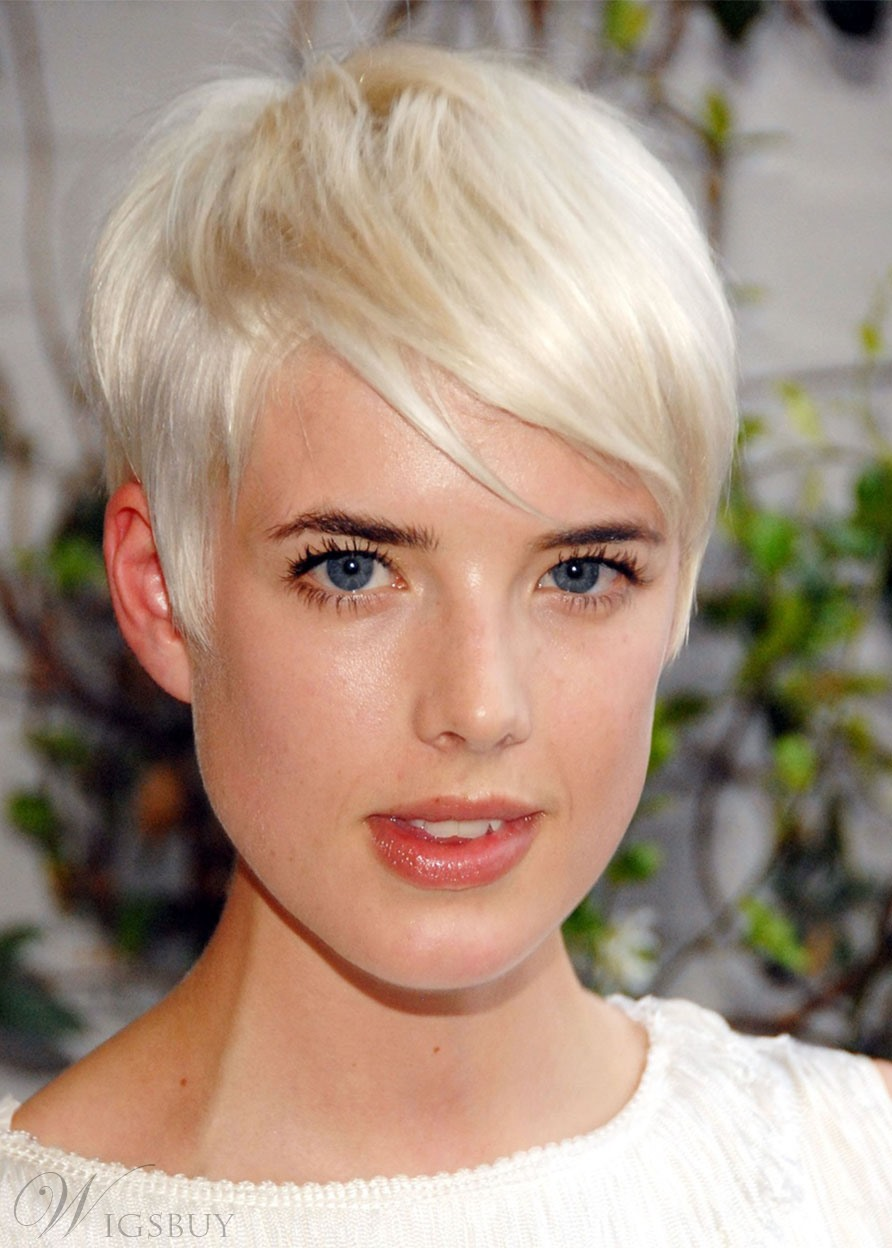 613 Blonde Color Short Pixie Cut Women's Straight Human Hair Lace Front Wigs 10 Inch
