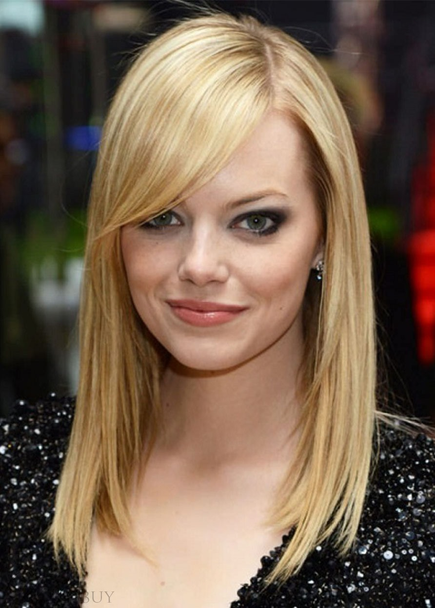 Emma Stone Style Women's Medium Bob Hairstyles Blonde Straight Human Hair Lace Front Wigs 22inch