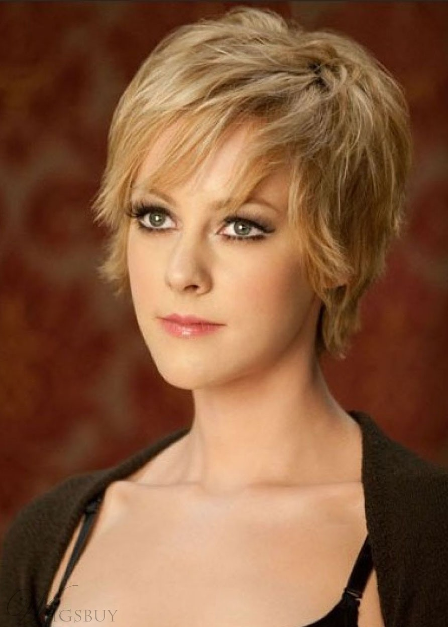 Women's Blonde Color Short Shaggy Synthetic Hair Lace Front Wigs 12inch