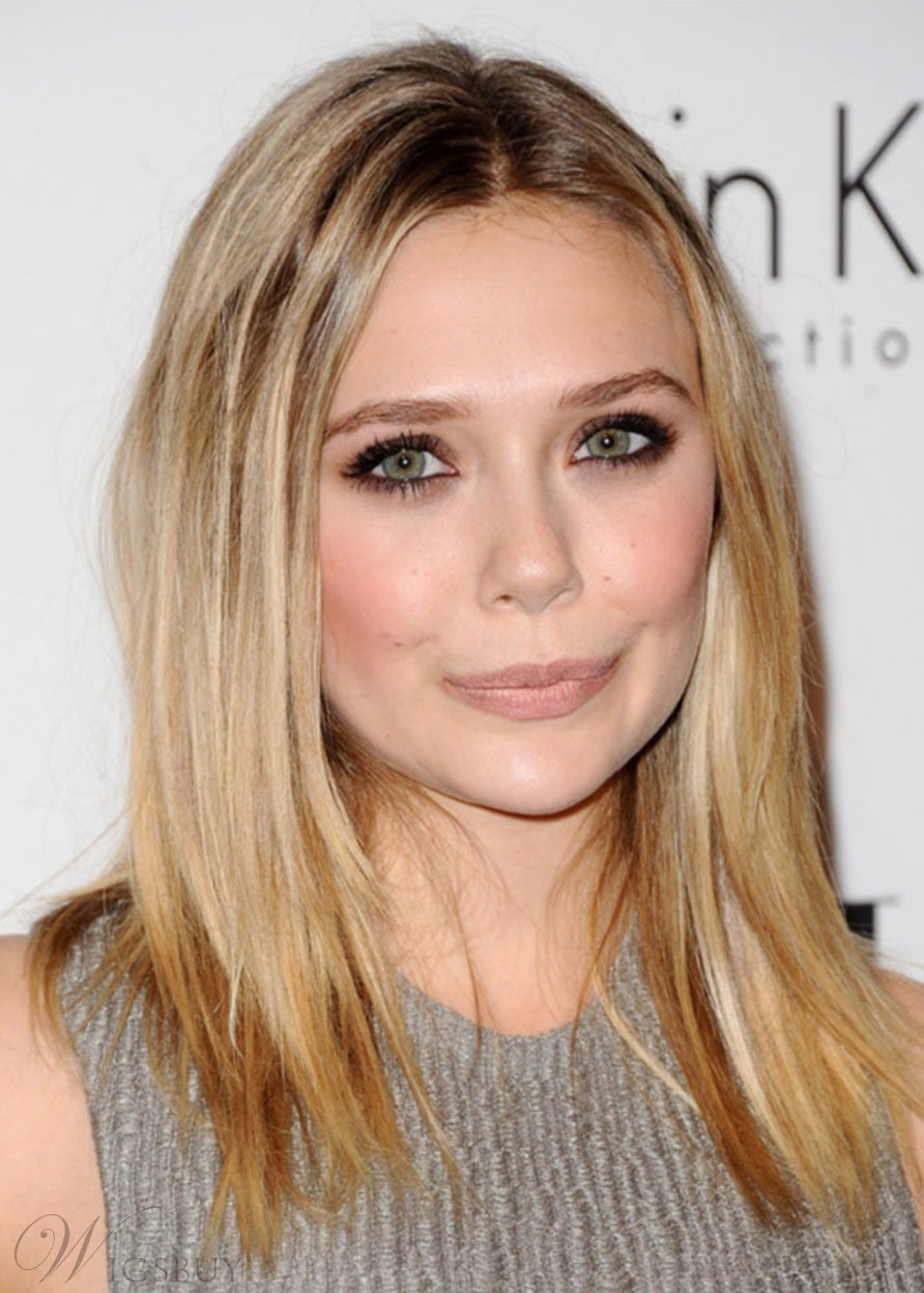 Elizabeth Olsen Medium Length Hairstyles Women's Straight Synthetic Hair Capless Wigs 20inch
