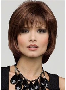 Medium Hairt Cut Synthetic Straight Monofilament Wig 10 Inches