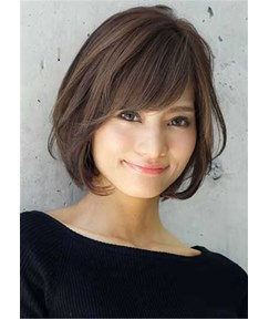 Short Bob Synthetic Hair Wavy Hair With Bangs 12 Inches