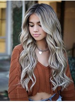 Mix Color Long Wavy Middle Part Synthetic Hair Wig 24 Inches