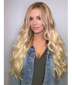 Long Middle Part Wavy Synthetic Hair Women Wig 24 Inches
