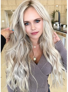 Long Length Women's Blonde Color Synthetic Hair Wavy Wigs Lace Front Cap Wigs 24inches