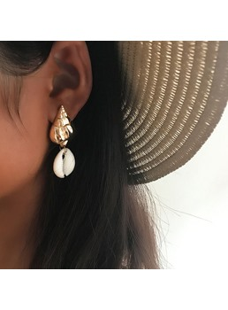 Golden Shell Earrings For Women