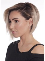 Short Bob Layered Hairstyle Synthetic Straight Lace Front Wig 10 Inches