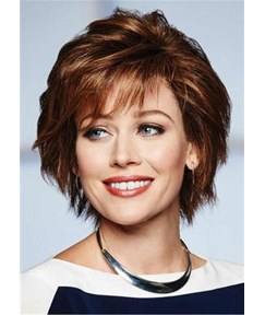 Choppy Layers Cut Medium Hairstyle Synthetic Straight Hair Women Wig 10 Inches