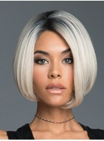 Short Bob Style Silver Synthetic Hair Straight Wig 10 Inches