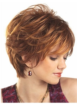 Short Layered Hairstyle Straight Synthetic Hair Wig 8 Inches