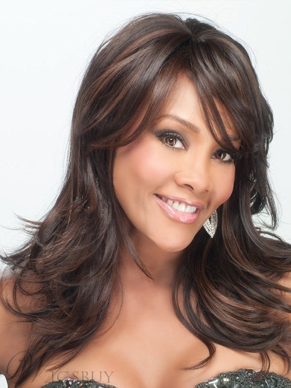 Long Wavy Synthetic Hair With Bangs Women African American Wigs 14 Inches