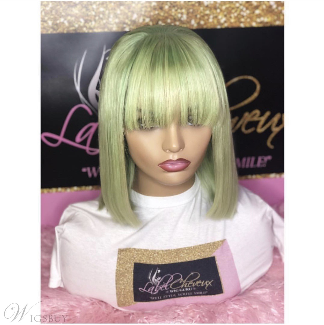 Medium Bob Style Green Synthetic Straight Hair 12 Inches