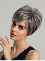Short Layered Straight Hairstyle Human Hair Blend Wigs 8 Inches