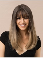 Long Bob Ombre Color Synthetic Hair Straight Wig With Bangs 20 Inches