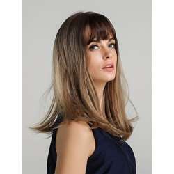 Long Bob Synthetic Hair Straight Wig With Bangs 20 Inches